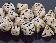 Chessex 7 die set Marble Ivory/black