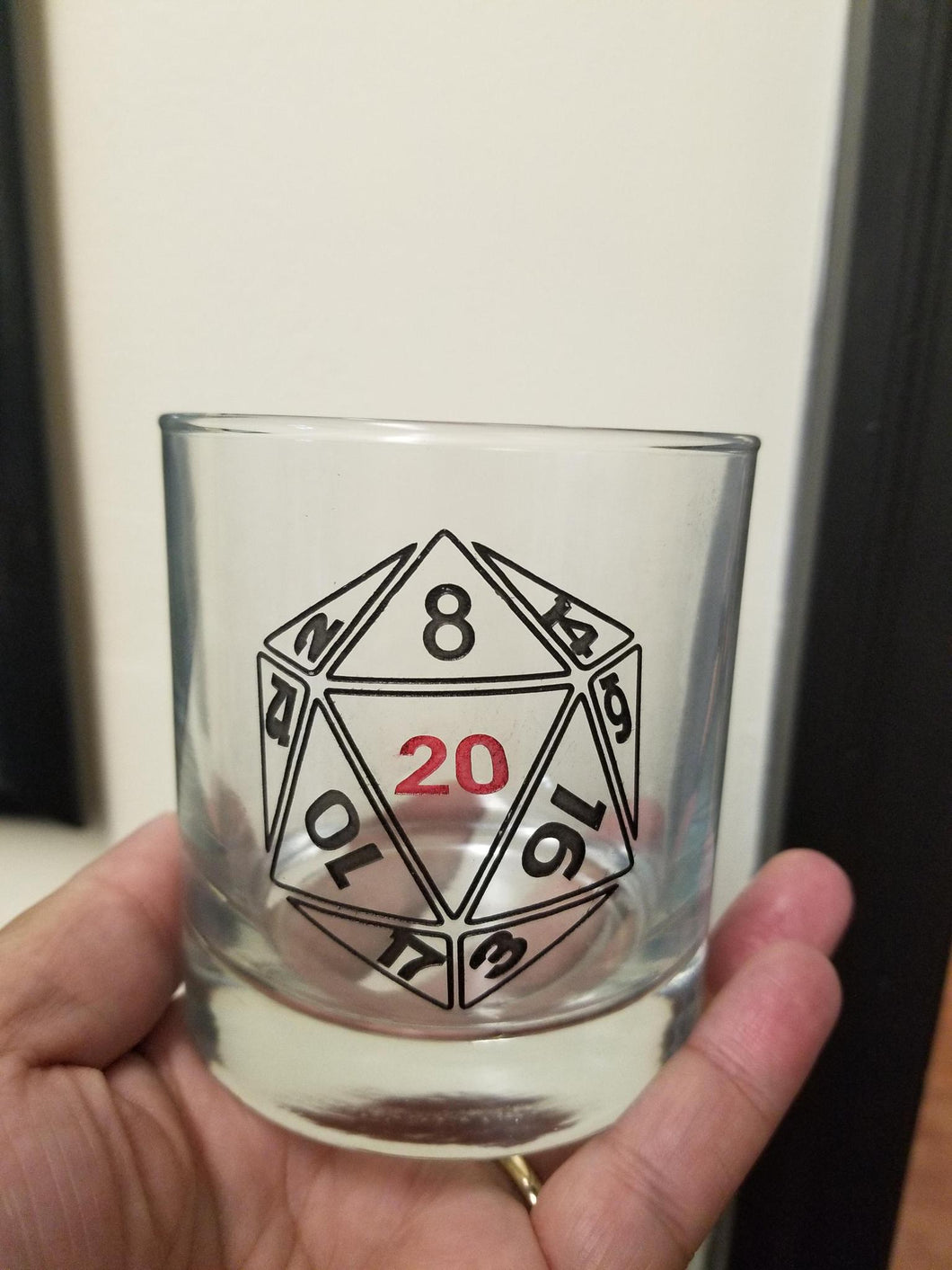 D20 Etched Drinking Glass