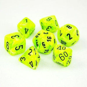 Chessex 7 die set Vortex Bright Green/Black