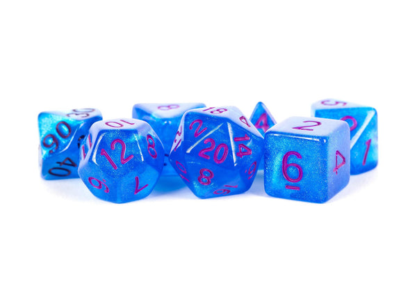 MDG Stardust Blue w/ Purple Numbers 16mm Polyhedral Dice Set