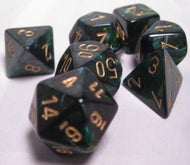 Chessex 7 die set Scarab Jade/Gold