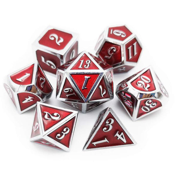 Haxtec 7PCS Metal Dice Set DND Dice Glossy Enamel Dice (Silver Red)