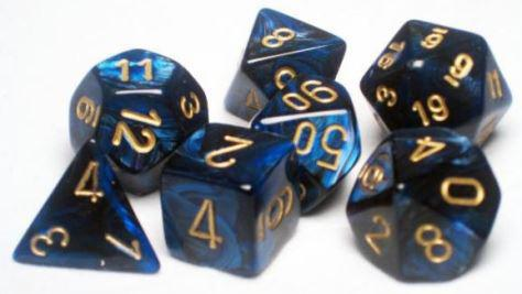 Chessex 7 die set Scarab Royal Blue/Gold
