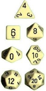Chessex: Opaque Ivory/Black 7-Die Set