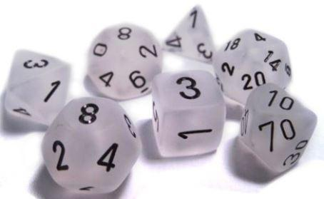 Chessex 7 die set Frosted Clear/Black