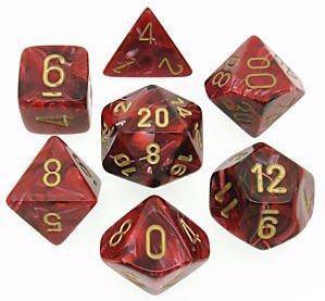 Chessex 7 die set Vortex Burgundy/gold