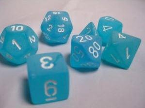 Chessex 7 die set Frosted Caribbean Blue/White