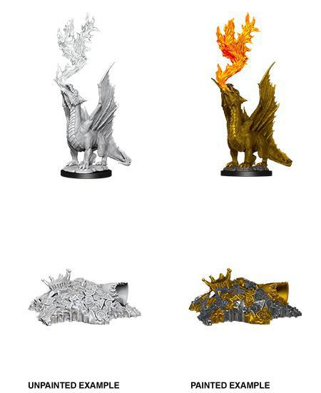D&D Nolzur's Marvelous Miniatures Wave 11 Gold Dragon Wyrmling & Small Treasure Pile