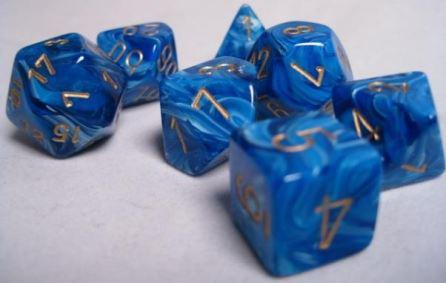 Chessex 7 die set Vortex Blue/Gold