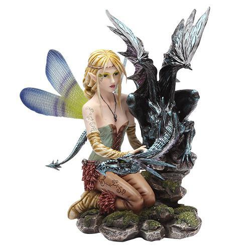 Fairy with Black Dragon Statue