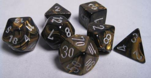 Chessex 7 die set Leaf Black Gold/Silver