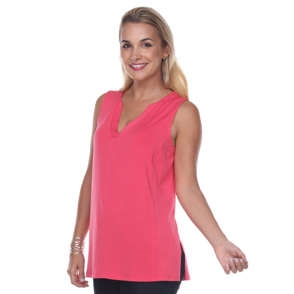 Sleeveless V-Neck Top Gathered Yoke Front & Back in Teaberry