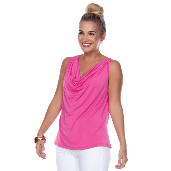 Sleeveless Cowl Neck Top in Azalea