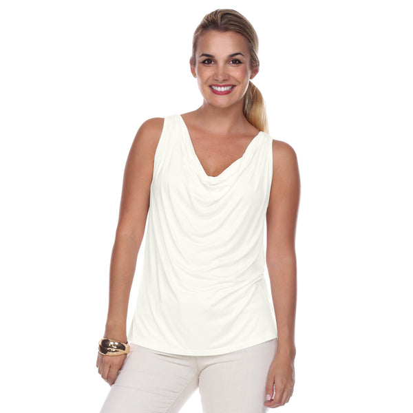 Sleeveless Cowl Neck Top in Pearl