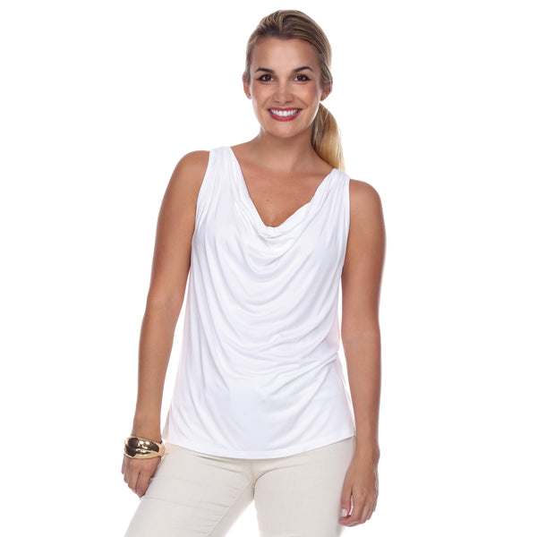 Sleeveless Cowl Neck Top in White