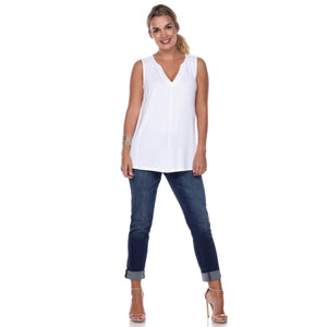 Sleeveless V-Neck Top Gathered Yoke Front & Back in White