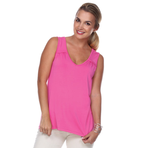 Sleeveless V-Neck Top Gathered Yoke Front & Back in Azalea