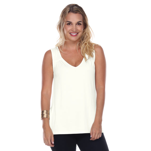 Sleeveless V-Neck Top Gathered Yoke Front & Back in Pearl