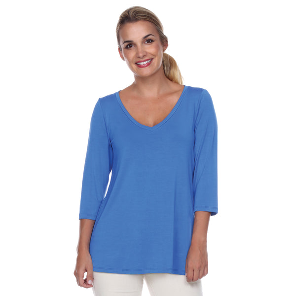 Core V-Neck 3/4 Sleeve in Blueberry