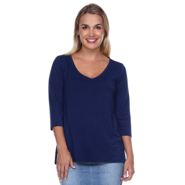 Core V-Neck 3/4 Sleeve in Navy