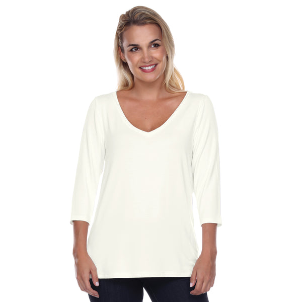 Core V-Neck 3/4 Sleeve in Pearl