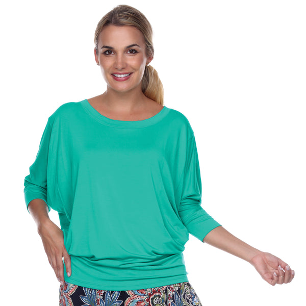 "Flashdance Top Dolman Sleeves with 3"" Cuffs Hugs at hemline to create drape in Jade"