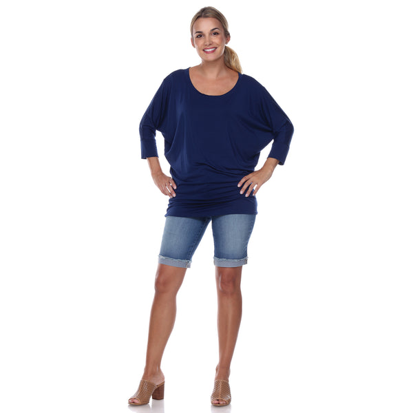 "Flashdance Top Dolman Sleeves with 3"" Cuffs Hugs at hemline to create drape in Navy"
