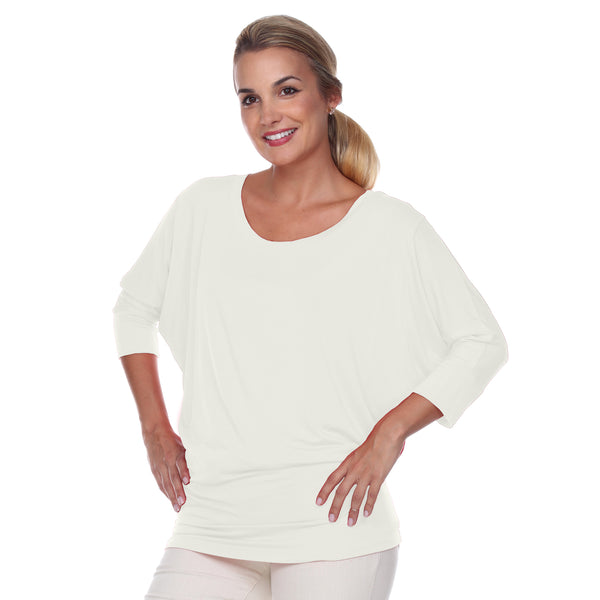 "Flashdance Top Dolman Sleeves with 3"" Cuffs Hugs at hemline to create drape in Pearl"