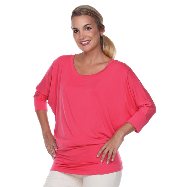 "Flashdance Top Dolman Sleeves with 3"" Cuffs Hugs at hemline to create drape in Teaberry"