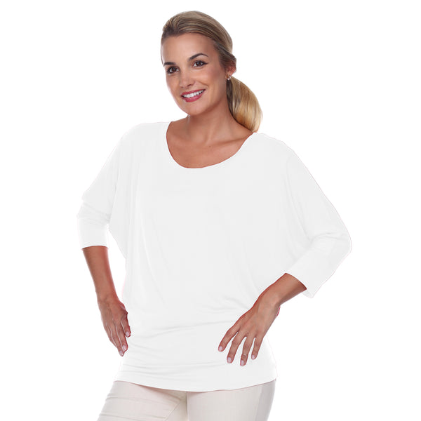 "Flashdance Top Dolman Sleeves with 3"" Cuffs Hugs at hemline to create drape in White"
