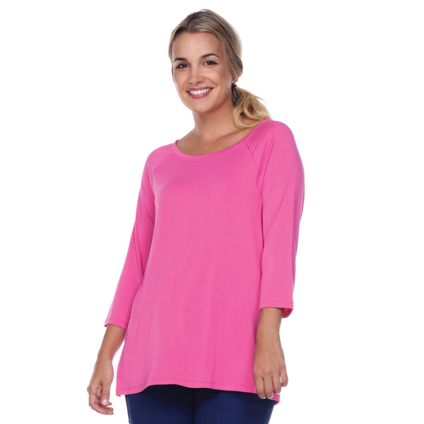 "3/4 Sleeve ""Swing"" Top Ballet Neckline Raglan Sleeves in Azalea"