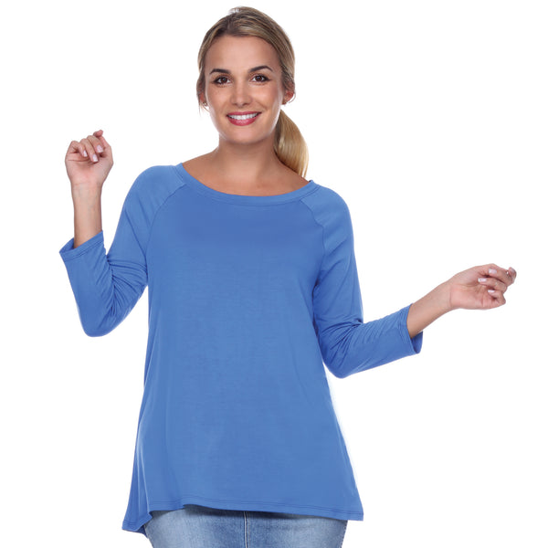 "3/4 Sleeve ""Swing"" Top Ballet Neckline Raglan Sleeves in Blueberry"