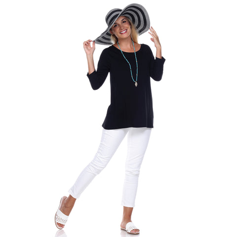 "3/4 Sleeve ""Swing"" Top Ballet Neckline Raglan Sleeves in Black"