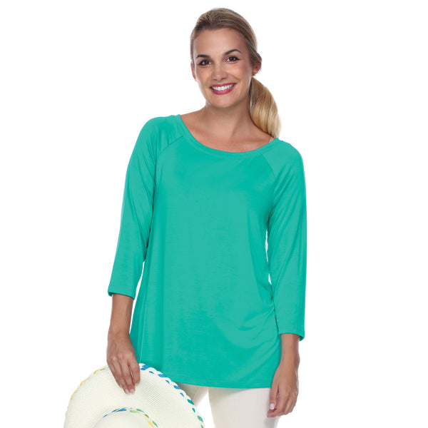 "3/4 Sleeve ""Swing"" Top Ballet Neckline Raglan Sleeves in Jade"