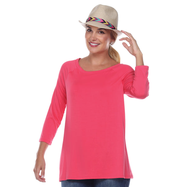 "3/4 Sleeve ""Swing"" Top Ballet Neckline Raglan Sleeves in Teaberry"