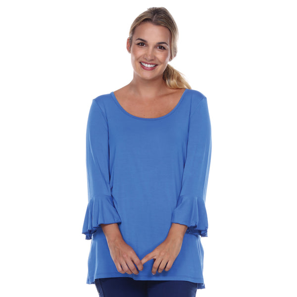 Scoop Neck 3/4 Sleeve Tunic Flounce Sleeves in Blueberry