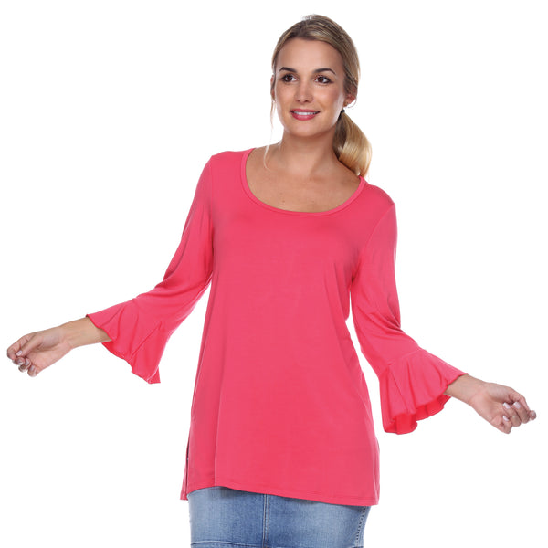 Scoop Neck 3/4 Sleeve Tunic Flounce Sleeves in Teaberry