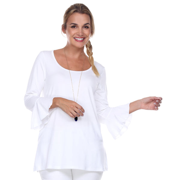 Scoop Neck 3/4 Sleeve Tunic Flounce Sleeves in White