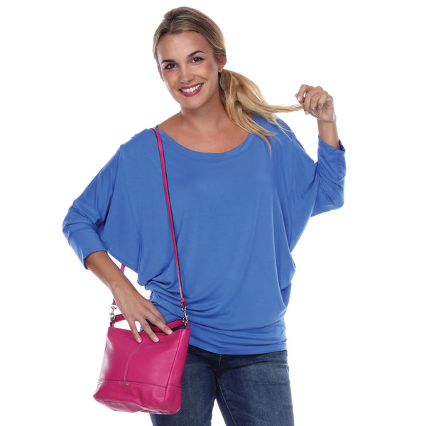 "Flashdance Top Dolman Sleeves with 3"" Cuffs Hugs at hemline to create drape in Blueberry"