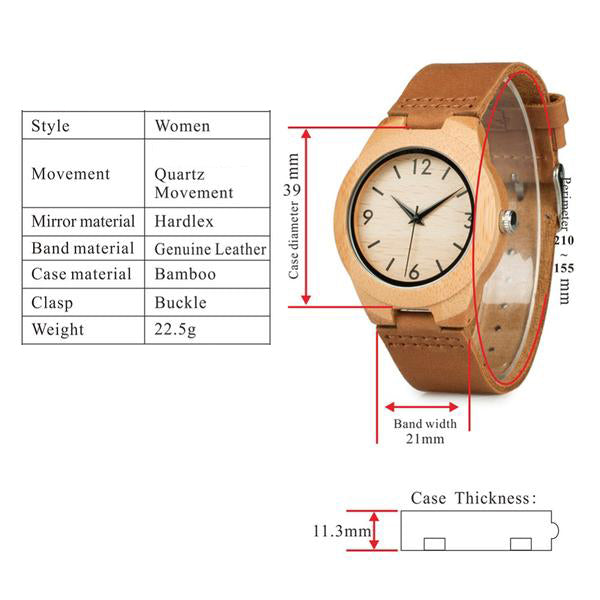 Bamboo Case Unisex Watch