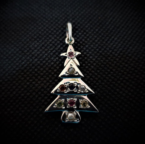 Nine Stone X-mas Tree Pendant