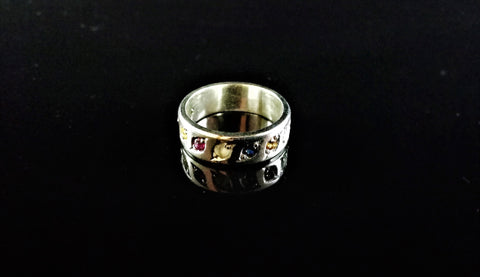 Nine Stone Rainbow Gent's Ring