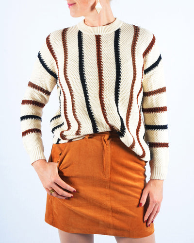 Ribbed skirt cognac
