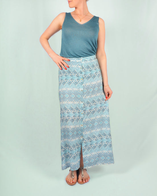 Blue estampado maxi skirt