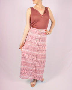 Pink estampado maxi skirt