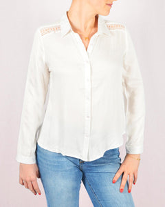 White shoulder boho blouse