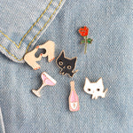 Cat and Rose/Champagne Pins