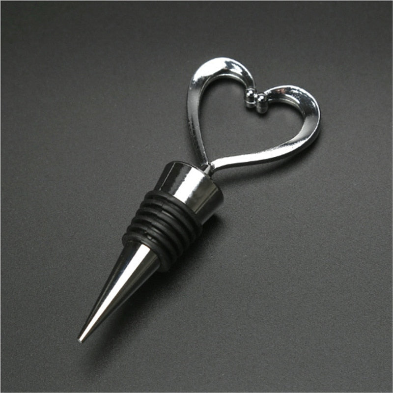 Elegant Heart Shaped Red Wine Champagne Wine Bottle Stopper Valentines Wedding Gifts Free Shipping