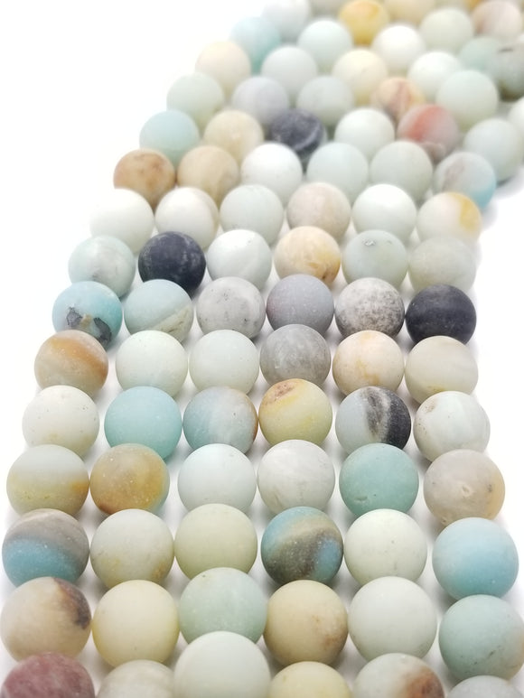 Black Gold Amazonite (Round)(Matte)(16