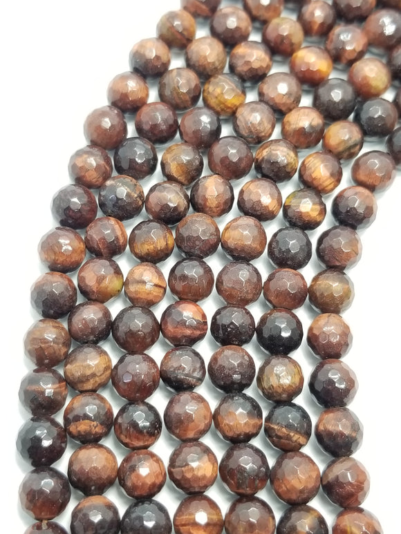 Red Tiger Eye (Round)(Faceted)(16